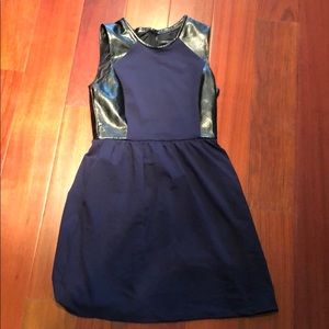 Navy dress with leather